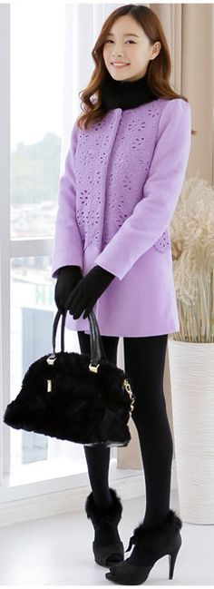 women lavender wool winter coat