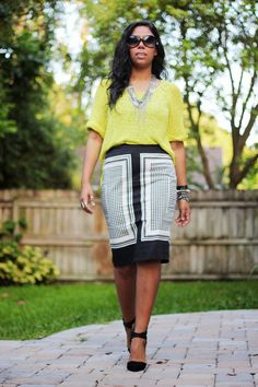 Citron Knit sweater + black and white pencil skirt