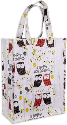 Home Essentials and Beyond, Inc. Reusable Shopping Bag Happy Holiday Owl Pinned by www.myowlbarn.com