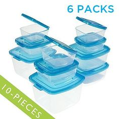 Mr Lid 10 Piece Attached Lid Plastic Container Clear with Blue Lids  6 Packs * Continue to the product at the image link.