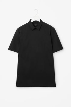 Perfect everyday shirt in black   COS   Buttonless short sleeve shirt