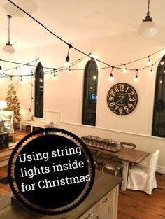 White Wood : Creating a magical look for Christmas. Patio Lighting, Track Lighting, White Wood, Great Rooms, Holiday, Christmas, Ceiling Lights, Mirror, Create