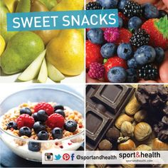 Craving something sweet? Try these healthy options:  • Berries: Blue berries, boysenberries, strawberries • Apples, pears & bananas • Organic plain yogurt with a touch of honey • ½ baked sweet potato • Dark chocolate almonds (not too much) • Dried fruit (avoid if tying to lose weight) • Green smoothie: kale, spinach, apple, lemon and ginger