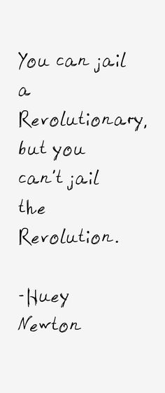 You can jail a Revolutionary, but you can't jail the Revolution. - Huey Newton one of the leader sof the Black Power movement Quotes