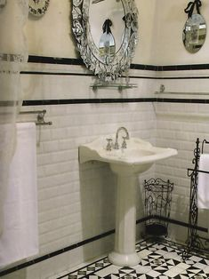 All Of My Favorite Elemants Subway Tile Venetian Mirror Pedestal Sink Paula Hamilton  C B Victorian Bathroom