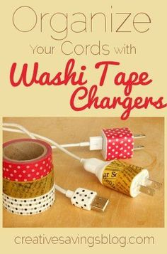 Your Cords with Washi Tape Chargers Transform boring white cords into adorable washi tape chargers, and finally organize those messy drawers.Transform boring white cords into adorable washi tape chargers, and finally organize those messy drawers. Washi Tape Crafts, Washi Tapes, Ideas Prácticas, Idee Diy, Organizing Your Home, Masking Tape, Duct Tape, Organization Hacks, Getting Organized