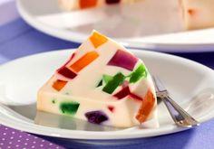 Receita de Mosaico de gelatina com leite de coco - Doce caseiro - Dificuldade: Fácil - Calorias: 302