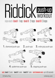 Riddick Push-Up Workout. Gets ur chest n core burning!!! Great variation so you are not bored