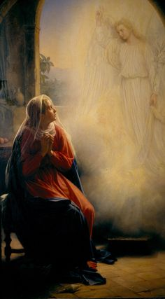 The Angel Gabriel appears before the Blessed virgin Mary, which begins the Annunciation of our Lord. Religious Pictures, Religious Icons, Religious Art, Blessed Mother Mary, Blessed Virgin Mary, Feast Of The Annunciation, Queen Of Heaven, Mama Mary, Sainte Marie