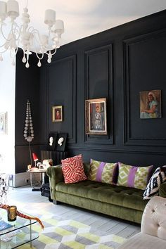 20 Accented Walls Interiorforlife.com black feature wall olive green velvet chesterfield