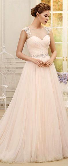 Elegant Tulle & Satin Bateau Neckline A-line Wedding Dresses With Beaded Lace Appliques https://bellanblue.com