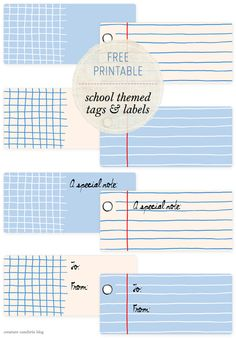 Free Printable: Back to School Themed Tags and Labels | shared on Creature Comforts Blog today