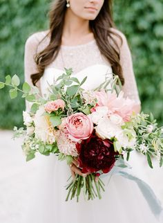 Pretty blush with a pop of burgundy: http://www.stylemepretty.com/2016/07/14/forget-catching-pokemon-catch-these-wedding-bouquets-instead/