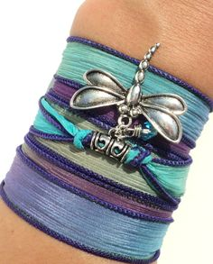 Silk Wrap Bracelet Yoga Jewelry Dragonfly by BohemianEarthDesigns, $26.95