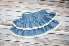 """Arden"" denim skirt: Be Girl Clothing, girl clothing, baby clothing, childrens boutique, girl dress, boutique dress, boutique fashion"