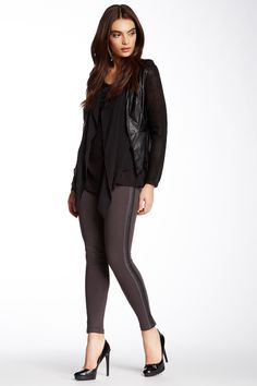 Faux Leather Trim Legging by Gracia on @HauteLook
