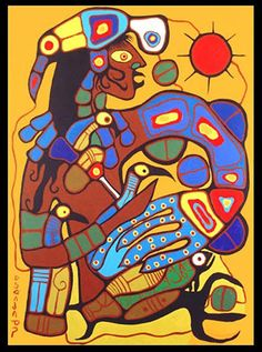 Norval Morrisseau - Man Changing into ThunderBird Inuit Kunst, Inuit Art, Native American Artists, Canadian Artists, Art And Illustration, Kunst Der Aborigines, Woodland Art, Aboriginal Painting, Haida Art
