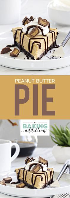 Peanut Butter Pie is made with a chocolate cookie crust and smooth, creamy peanut butter filling. So easy and so delicious! Your guests will be begging you for this recipe!
