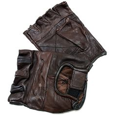 Defender Brown Extra-large Leather Fingerless Gloves with Velcro Strap ($7.99) ❤ liked on Polyvore featuring accessories, gloves, brown fingerless gloves, brown leather gloves, sport gloves, velcro gloves and leather gloves
