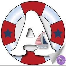 Wall Letters A Nautical Ocean Sailing Red White Blue Letter Stickers Alphabet Initial Vinyl Sticker Kid Decals Children Room Decor Baby Nursery Boys Bedroom Decorations Child Names Boat Whale Anchor -