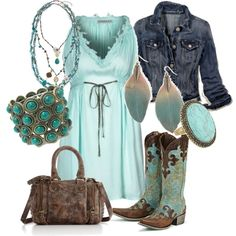 Another pinner: Dress, jean jacket, boots...someday my inner cowgirl WILL come out! Me: I am a cowgirl, so this is totally my style