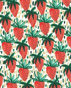 Strawberries III. #pattern #illustration