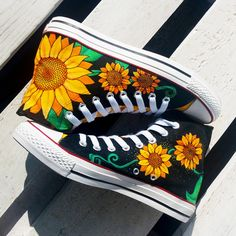SUNFLOWERS, Custom Sneakers, Handpainted Shoes, Sunflower Converse,... ($87) ❤ liked on Polyvore featuring shoes, sneakers, converse trainers, converse footwear, star sneakers, converse shoes and star shoes