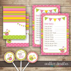 Baby Girl Shower Party Package / Pink Lime Green & Yellow by OandD
