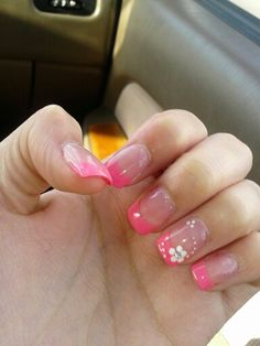 My nails. Pink acrylic tips and cute white flower design. I love it! :)