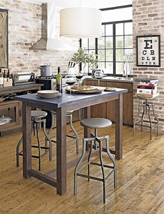 Wonderful Kitchen Table and Its Best Match: Awesome Industrial Tall Kitchen Table Seating Surround Brick Wall Interior ~ ozvip.com Kitchen Designs Inspiration