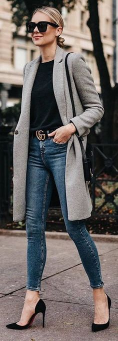 grey long jacket, black shirt, skinny jeans, heels