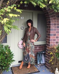 Layering a maxi dress with a biker & block heeled boots www.mymidlifefashion.com