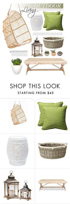 """""""Outdoor - Hanging chair"""" by monmondefou ❤ liked on Polyvore featuring interior, interiors, interior design, home, home decor, interior decorating, BoConcept, Pillow Perfect, Safavieh and Juliska"""