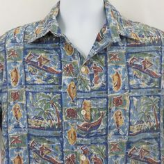 6fc943e77 Vintage Kai Nani Men L Fish Drum Canoe Cotton Aloha Hawaiian Shirt Reverse  Print #KaiNani
