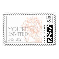 Coral Peonies Vintage Wedding Stamps
