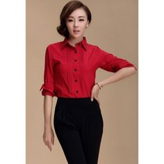 Sophisticated Polo Collar Ruffle Solid Color Long Sleeve Shirt For Women, RED, L in Blouses | DressLily.com