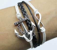 Kama - silver anchor bracelet, wax even rope bracelet infinity bracelet male and female friend's gift