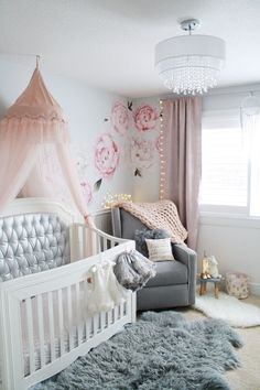 Glamorous pink and gray nursery Baby girl pink and gray nursery with chandelier, tufted crib, pink crib canopy and peony wall decals Baby Girl Nursery Decor, Baby Bedroom, Baby Room Decor, Nursery Room, Themed Nursery, Nursery Ideas, Room Ideas, Project Nursery, Nursery Bedding