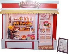 Dollhouse Miniature DIY Kit w/ Light Cake Store Bakery Bread Shop Europe Travel