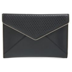 Rebecca Minkoff 'Leo' Star Perforated Leather Envelope Clutch ($125) ❤ liked on Polyvore featuring bags, handbags, clutches, envelope clutch bag, perforated leather handbag, leather clutches, perforated leather purse and genuine leather handbags