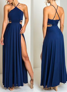 Royal blue chiffon prom dress, royal blue evening dress