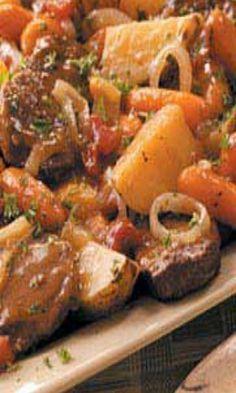 Slow Cooker Swiss Steak Supper by allisonn Crock Pot Slow Cooker, Crock Pot Cooking, Slow Cooker Recipes, Cooking Recipes, Slow Cooker Swiss Steak, Cooking Tips, Potato Recipes Crockpot, Casserole Recipes, Crockpot Recipes