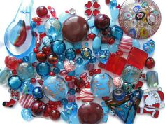 150+ Pc Assorted Red Blue Beads Pendants Charms Christmas Winter Jewelry Crafts  #Assorted