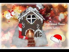 How to make a GINGERBREAD HOUSE candle holder recycling a CARTON - YouTube