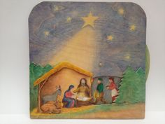 moveable wooden picture nativity, from innkeeper to three kings
