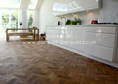 English Oak, reclaimed parquet, warm honey colours with darker grain, a robust and charactered timber. The most classic of woods, great choice for flooring. Reclaimed Parquet Flooring, Wooden Flooring, Living Room Flooring, Home Living Room, Kitchen Tiles, Kitchen Flooring, New Homes, Interior Design, English