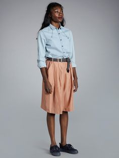 Denim Shirt, Midi Skirt, Spring Summer, Skirts, Clothes, Design, Women, Fashion, Moda