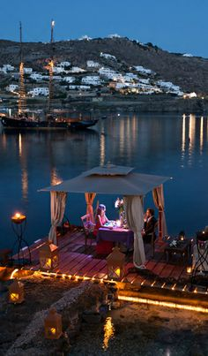 Romantic Dinner on the Water ☆ #Kivotos Resort #Mykonos #Greece