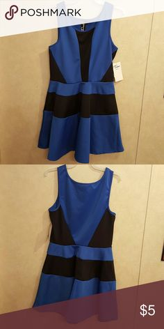 Blue & Black Skater Dress Brand new with tags. Black and blue skater dress. Trixxi Dresses Mini
