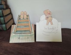 2 Rose O'Neill Kewpie Klever Kards Reproductions - Pop-up Postcards, die cut - Dandelion Vintage